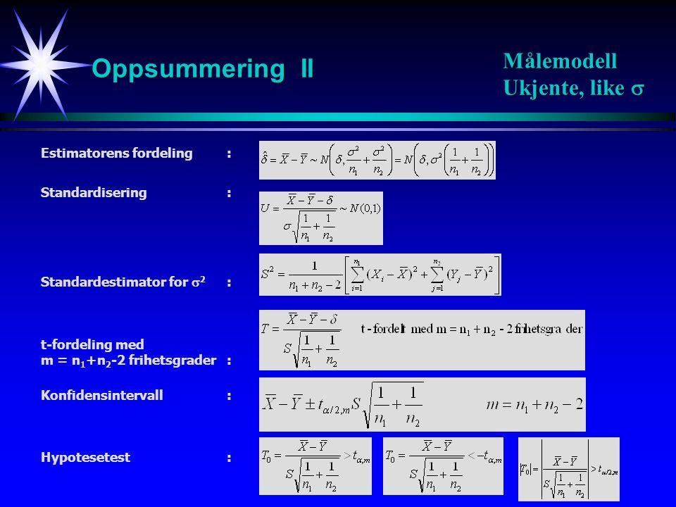 23 Konfidensintervall med sikkerhet 100(1-  ): Forventning Varians: Binomisk fordeling: Estimator: Estimator for forskjellen: Oppsummering III Binomisk modell