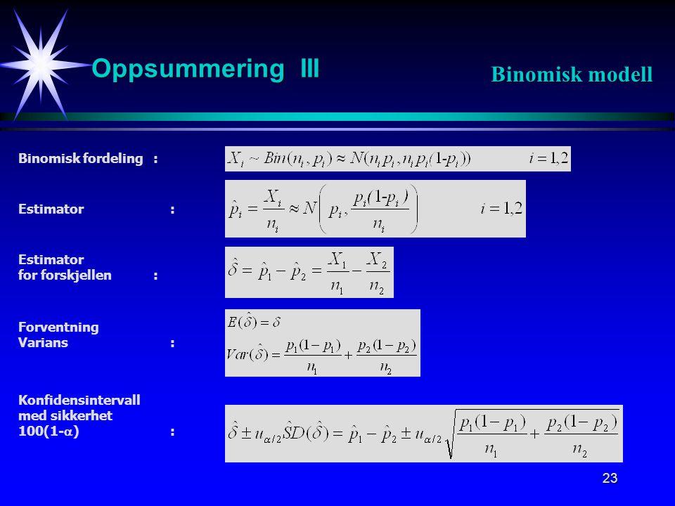 24 Oppsummering IV Binomisk modell Påstår H 1 dersom : Estimator for p: Estimator for forskjellen: Standardisering: Hypotesetest: