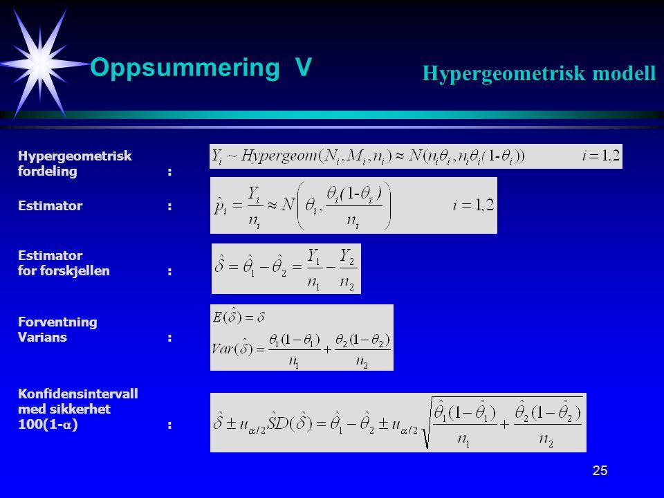 26 Oppsummering VI Hypergeometrisk modell Påstår H 1 dersom : Estimator for  : Estimator for forskjellen: Standardisering: Hypotesetest: