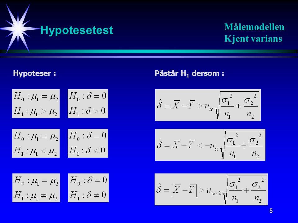 6 Hypotesetest Målemodellen Ukjent varians Hypoteser :Påstår H 1 dersom :
