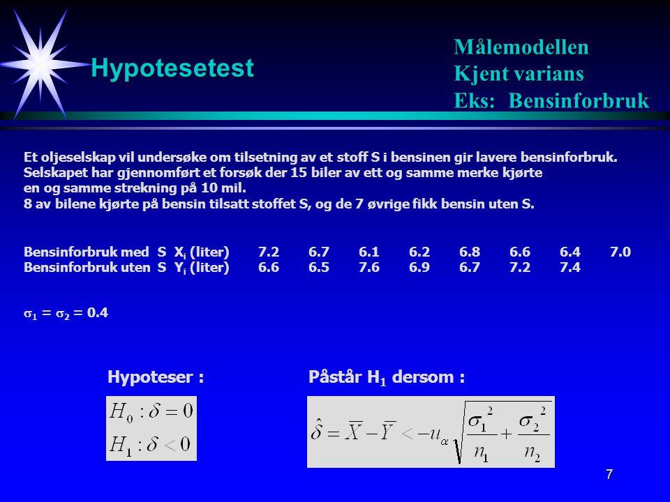8 Hypotesetest Målemodellen Kjent varians Eks: Bensinforbruk 95% konfidensintervall: Estimert verdi av  : Hypotesetest: Påstå H 1  med signfkn.