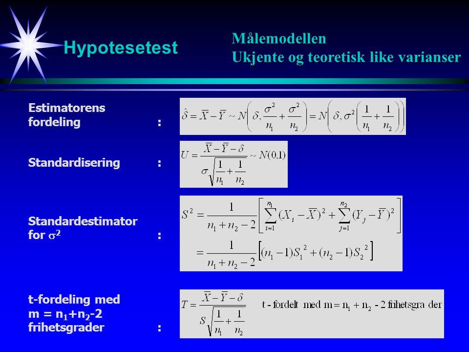 10 Hypotesetest Målemodellen Ukjente og like varianser Konfidensintervall med sikkerhet 100(1-  ): HypotesetestPåstå H 1 hvis
