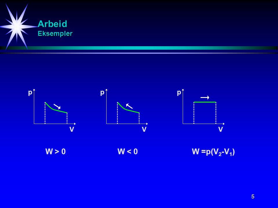6 Arbeid Eksempler V p V p V p Isobar prosess (p konst.) Isoterm prosess (T konst.) Isokor prosess (V konst.)