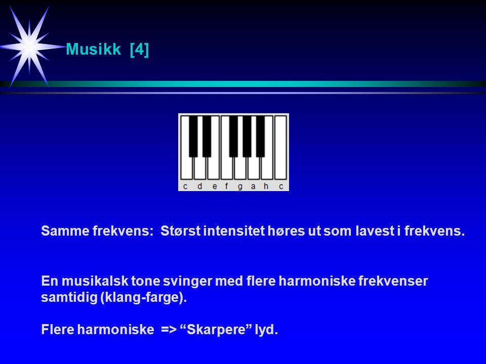 Musikk [4] Samme frekvens:Størst intensitet høres ut som lavest i frekvens.