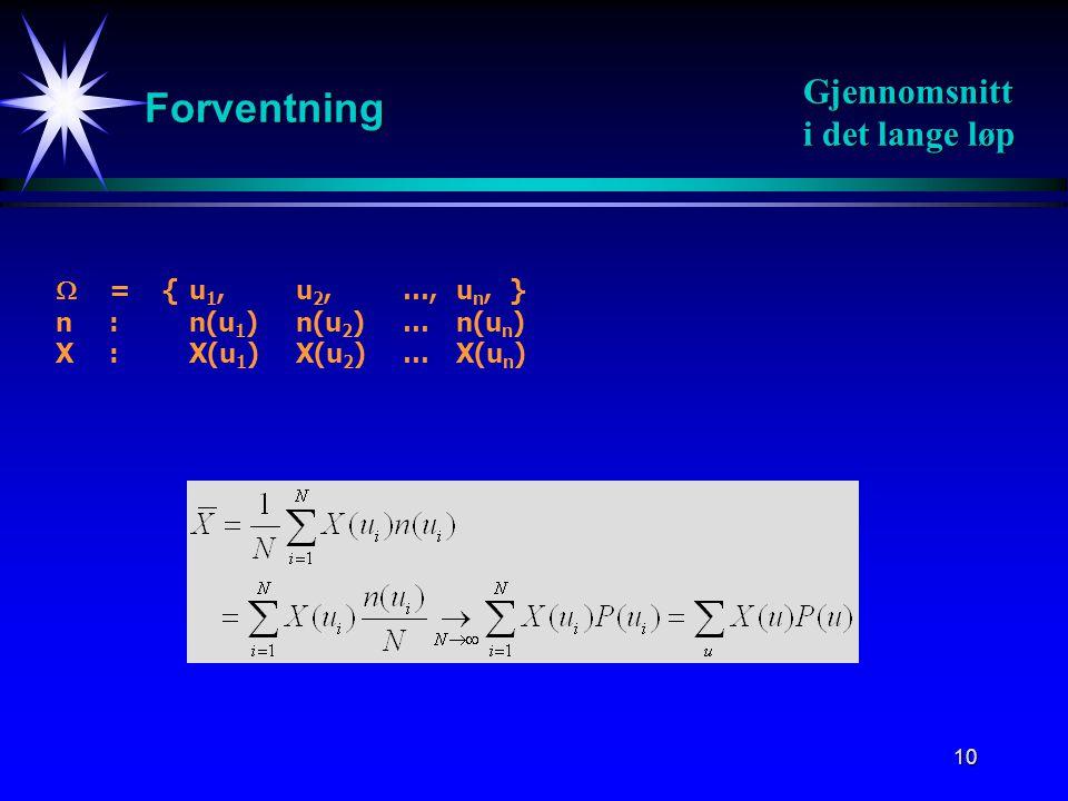 10 Forventning Gjennomsnitt i det lange løp  = {u 1, u 2, …, u n, } n:n(u 1 ) n(u 2 ) …n(u n ) X : X(u 1 ) X(u 2 ) …X(u n )