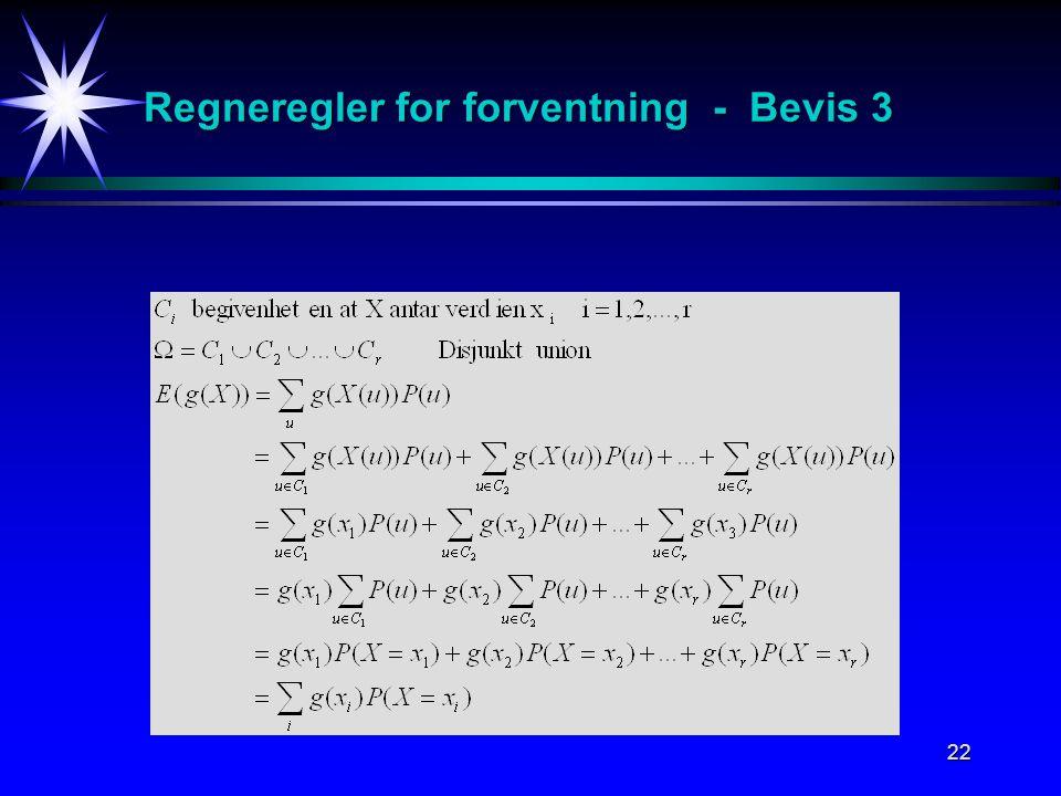 22 Regneregler for forventning - Bevis 3