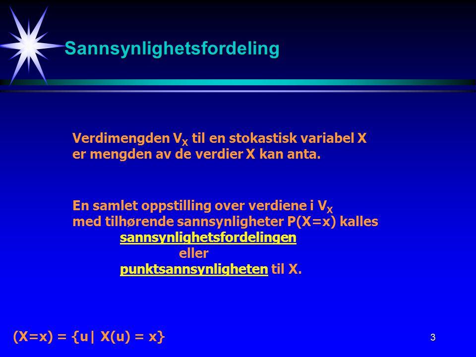 3 Sannsynlighetsfordeling Verdimengden V X til en stokastisk variabel X er mengden av de verdier X kan anta. En samlet oppstilling over verdiene i V X
