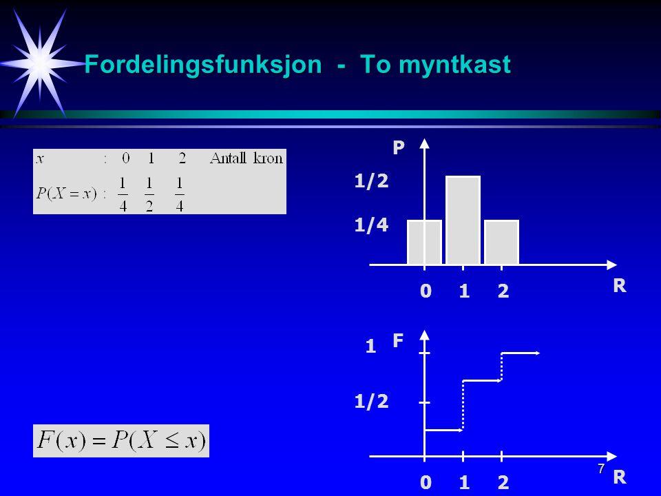 7 Fordelingsfunksjon - To myntkast R 0 1 2 1/2 1/4 P R 0 1 2 1 1/2 F