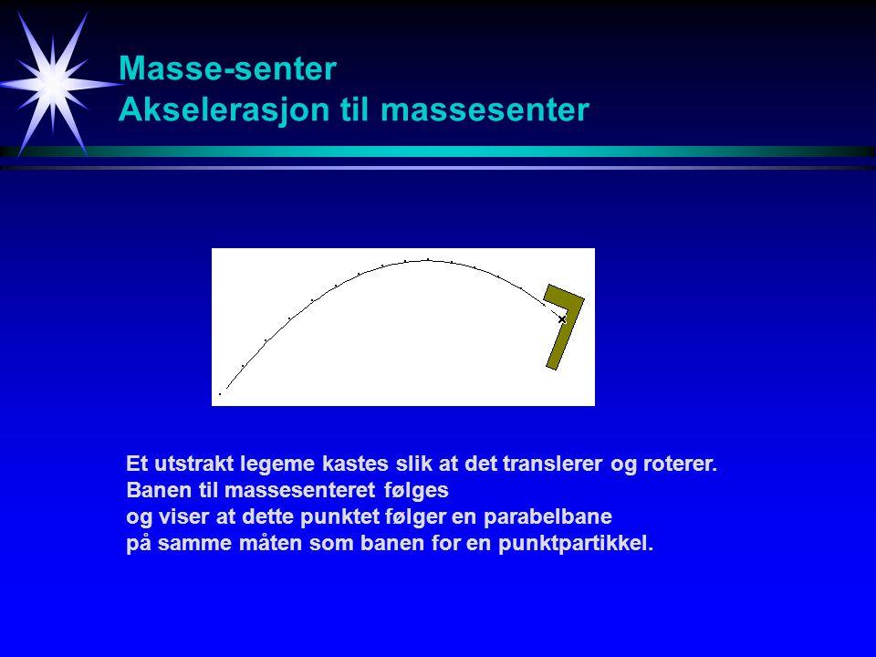 Masse-senter Akselerasjon til massesenter/vilkårlig punkt Et utstrakt legeme kastes slik at det translerer og roterer.