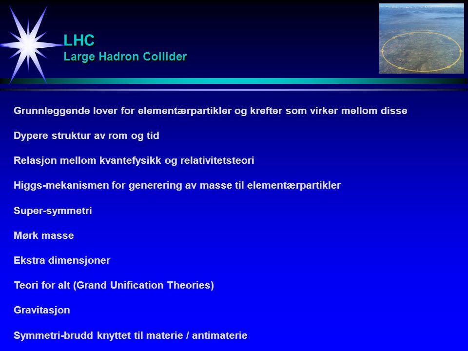 LHC Large Hadron Collider Grunnleggende lover for elementærpartikler og krefter som virker mellom disse Dypere struktur av rom og tid Relasjon mellom