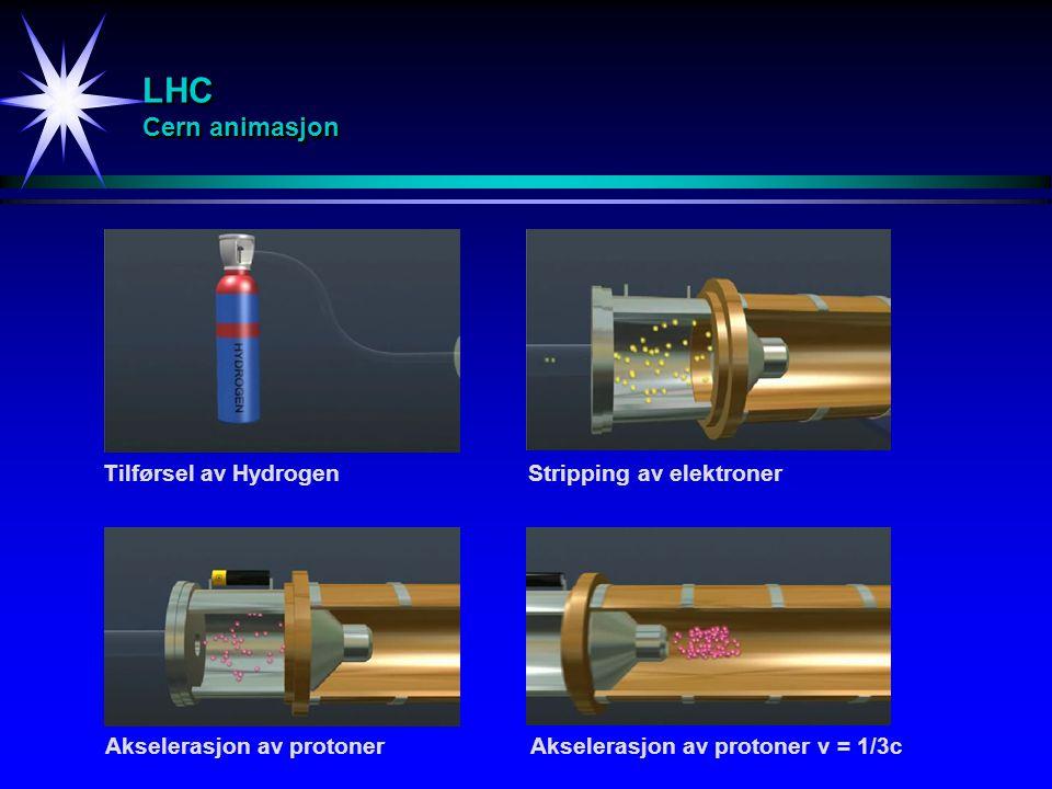 LHC Cern animasjon Tilførsel av HydrogenStripping av elektroner Akselerasjon av protonerAkselerasjon av protoner v = 1/3c
