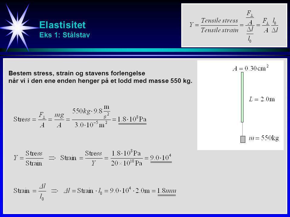 Elastisitet Eks 2: Hydraulisk presse En hydraulisk presse inneholder 0.25 m 3 (=250 l) olje.