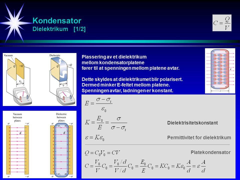 Kondensator Dielektrikum [1/2] Plassering av et dielektrikum mellom kondensatorplatene fører til at spenningen mellom platene avtar. Dette skyldes at