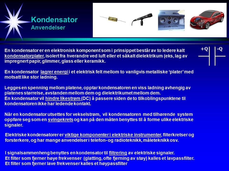 Kondensator Anvendelser En kondensator er en elektronisk komponent som i prinsippet består av to ledere kalt kondensatorplater, isolert fra hverandre