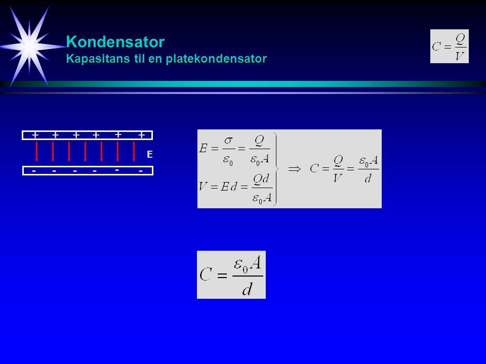 Kondensator Kapasitans til en platekondensator ++++ + + ---- - - E