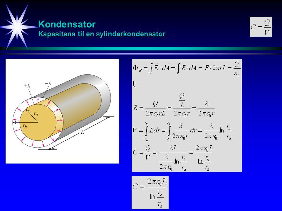 Kondensator Serie/Parallell +Q -Q +Q C1C1 C2C2 -Q C +Q 1 -Q 2 -Q 1 +Q 2 C1C1 C2C2 V +Q -Q C V1V1 V2V2 V V V SerieParallell
