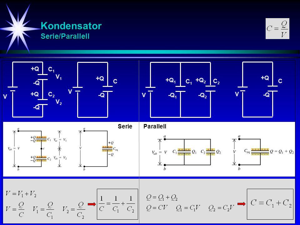 Kondensator Serie/Parallell - Eks C 1 = 2F V = 10 V C 2 = 8F C 3 = 0.4F C 12 V = 10 V C 3 = 0.4F C 123 V = 10 V Bestem resultant-kapasitansen.