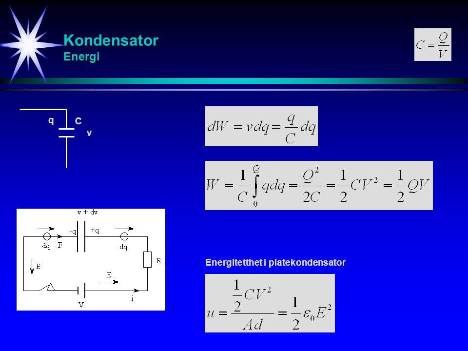 Kondensator Energi q C v Energitetthet i platekondensator