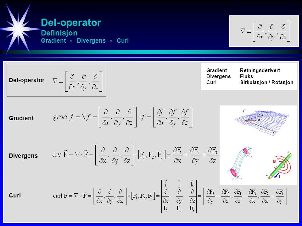 Del-operator Definisjon Gradient - Divergens - Curl Del-operator Gradient Divergens Curl GradientRetningsderivert DivergensFluks CurlSirkulasjon / Rot