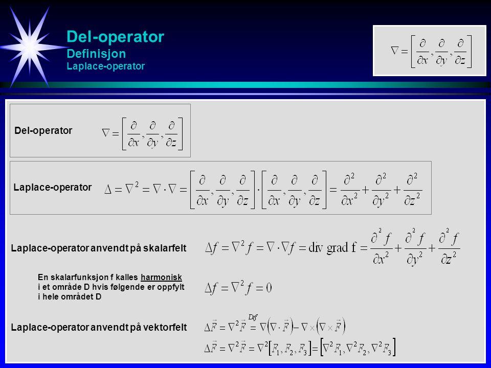 Del-operator Definisjon Laplace-operator Del-operator Laplace-operator anvendt på skalarfelt Laplace-operator anvendt på vektorfelt Laplace-operator E
