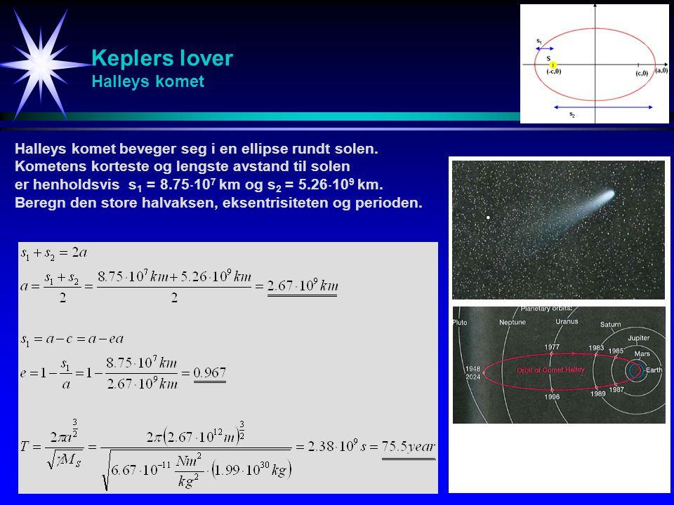 Keplers lover Halleys komet Halleys komet beveger seg i en ellipse rundt solen. Kometens korteste og lengste avstand til solen er henholdsvis s 1 = 8.