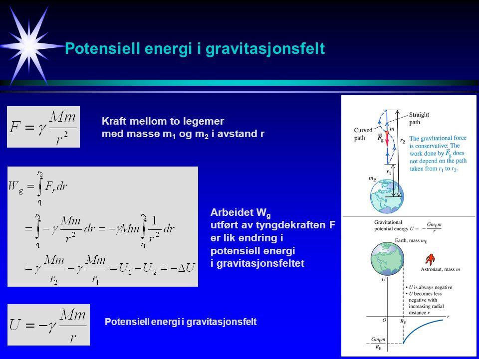 Potensiell energi i gravitasjonsfelt Kraft mellom to legemer med masse m 1 og m 2 i avstand r Arbeidet W g utført av tyngdekraften F er lik endring i