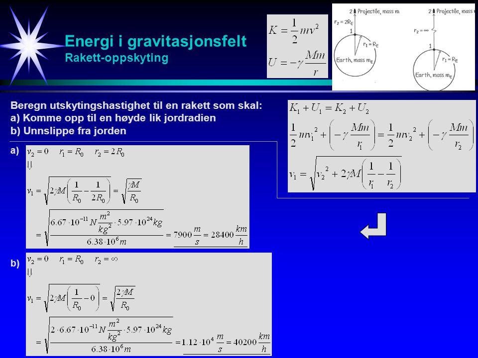 Energi i gravitasjonsfelt Rakett-oppskyting Beregn utskytingshastighet til en rakett som skal: a) Komme opp til en høyde lik jordradien b) Unnslippe f