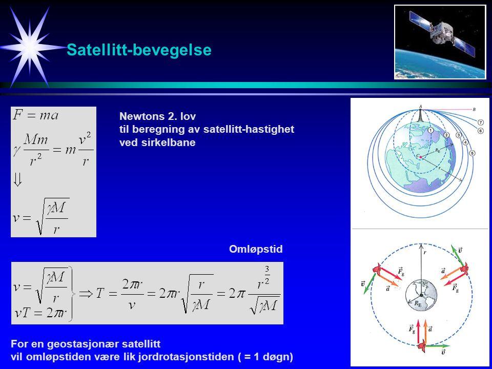 Satellitt-bevegelse Newtons 2. lov til beregning av satellitt-hastighet ved sirkelbane Omløpstid For en geostasjonær satellitt vil omløpstiden være li
