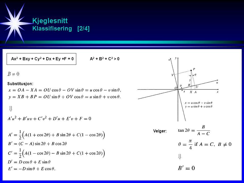 Kjeglesnitt Klassifisering [2/4] Ax 2 + Bxy + Cy 2 + Dx + Ey +F = 0A 2 + B 2 + C 2 > 0 Substitusjon: Velger: