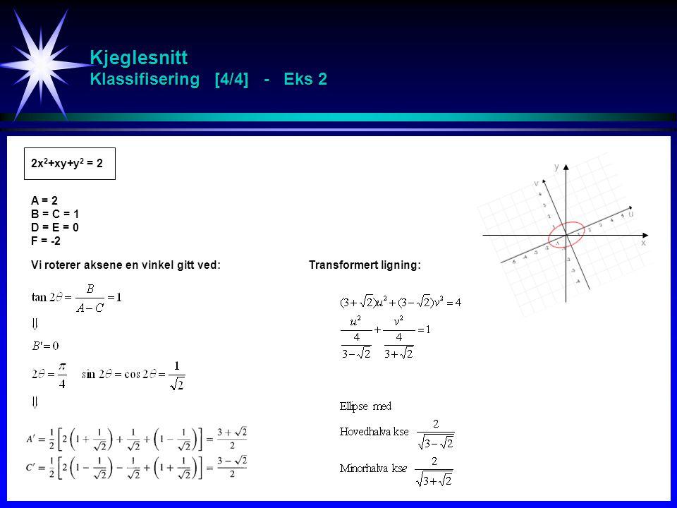 Kjeglesnitt Klassifisering [4/4] - Eks 2 2x 2 +xy+y 2 = 2 A = 2 B = C = 1 D = E = 0 F = -2 Vi roterer aksene en vinkel gitt ved:Transformert ligning: