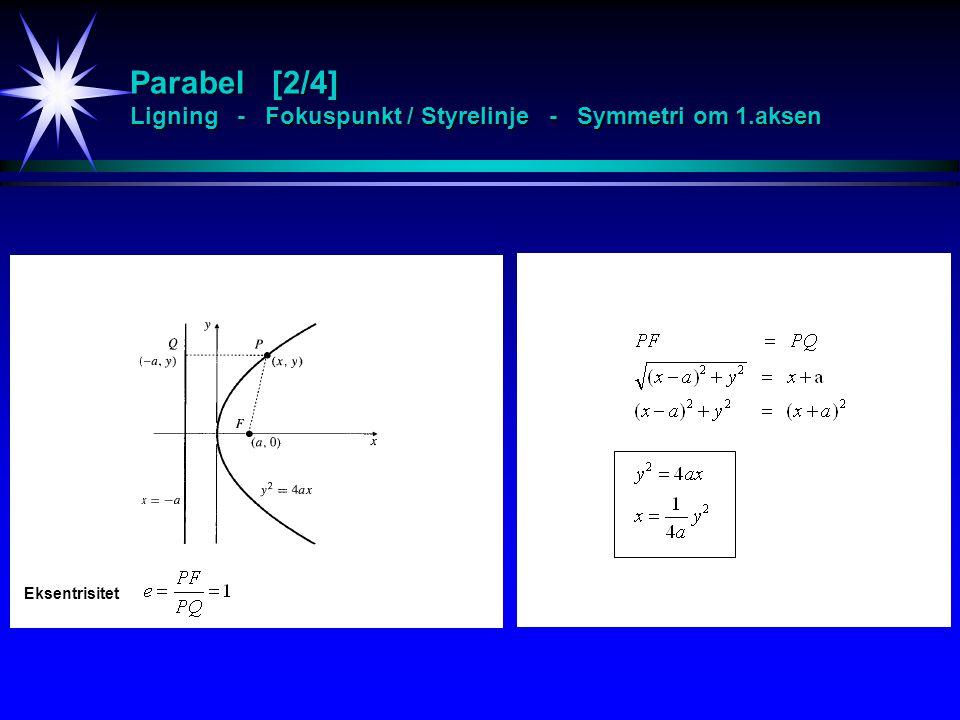 Kjeglesnitt Klassifisering [3/4] - Eks 1 xy = 1 A = C = D = E = 0 B = 1 Roterer en vinkel  =  / 4 xy = 1 representerer en rektangulær hyperbel med koordinataksene som asymptoter, noder i (1,1) og (-1,-1) og fokuspunkter i x y u v