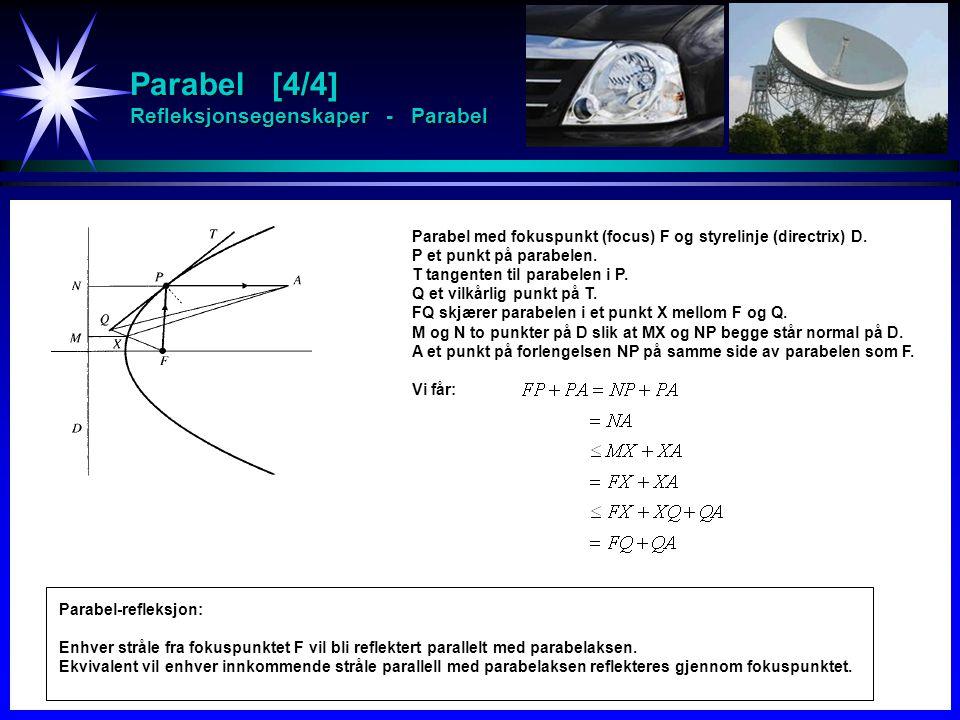 Parabel [4/4] Refleksjonsegenskaper - Parabel Parabel med fokuspunkt (focus) F og styrelinje (directrix) D. P et punkt på parabelen. T tangenten til p