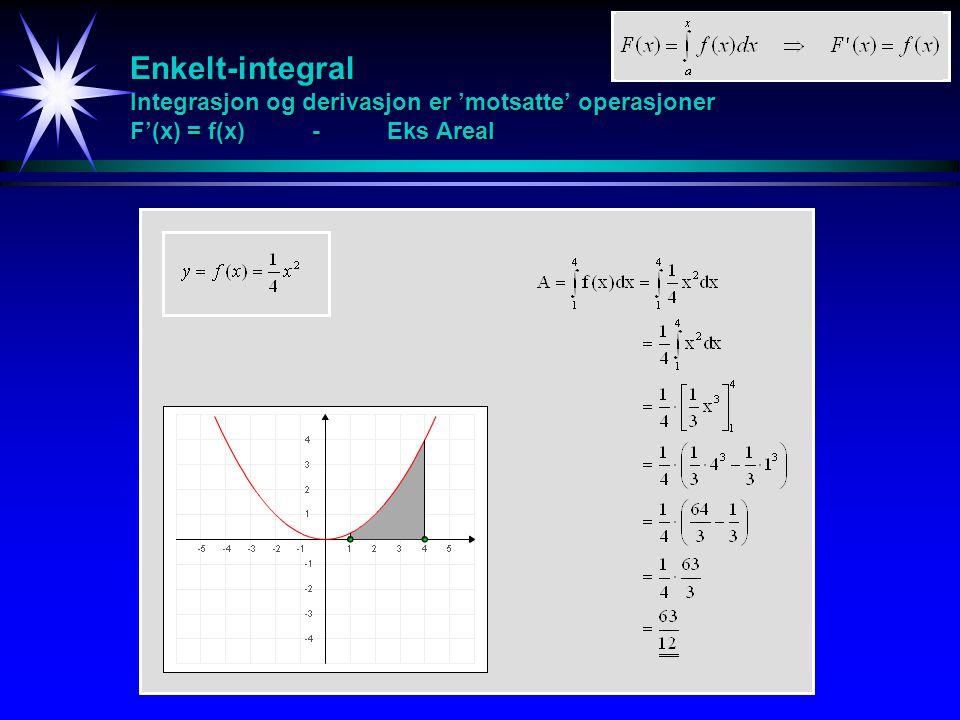 Enkelt-integral Integrasjon og derivasjon er 'motsatte' operasjoner F'(x) = f(x) - Eks Areal