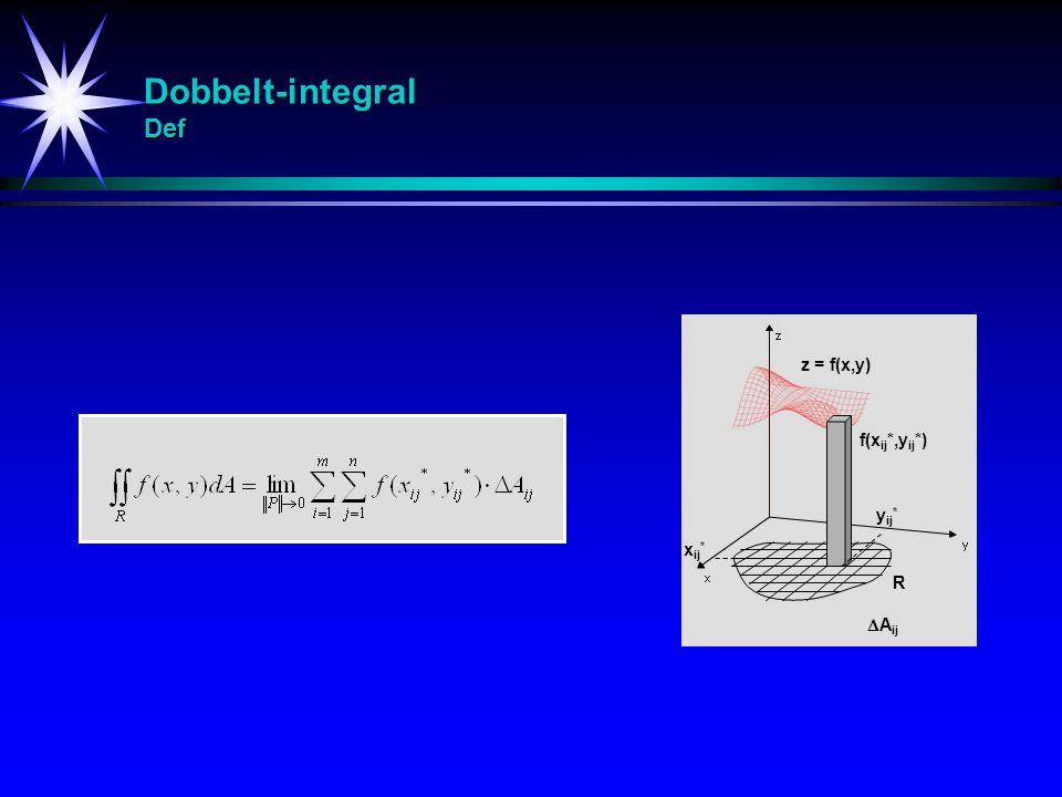 Dobbelt-integral Def R  A ij f(x ij *,y ij *) x ij * y ij * z = f(x,y)