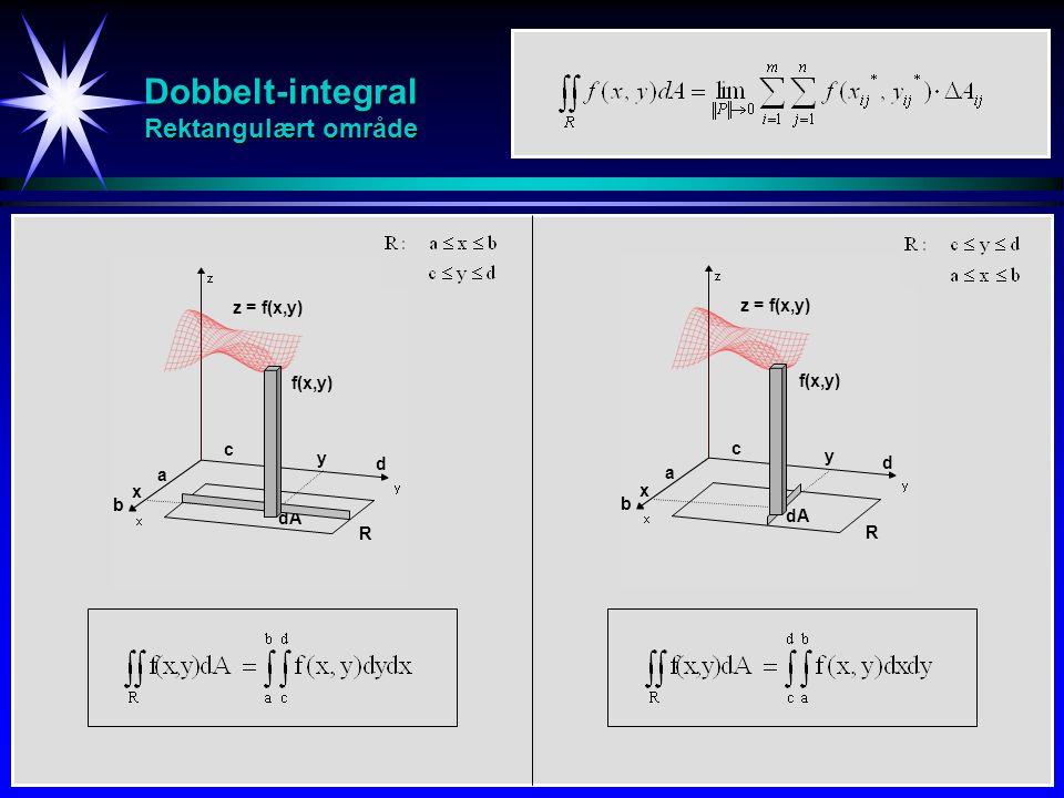 Dobbelt-integral Rektangulært område R dA f(x,y) x y z = f(x,y) a b c d R dA f(x,y) x y z = f(x,y) a b c d