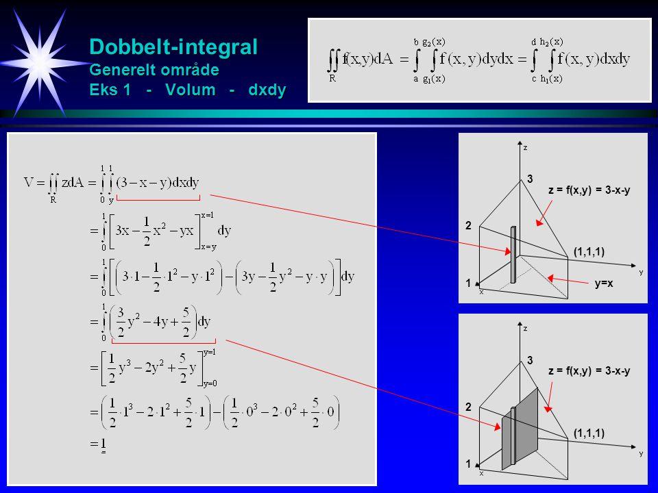 Dobbelt-integral Generelt område Eks 1 - Volum - dxdy 1 2 3 (1,1,1) z = f(x,y) = 3-x-y 1 2 3 (1,1,1) z = f(x,y) = 3-x-y y=x