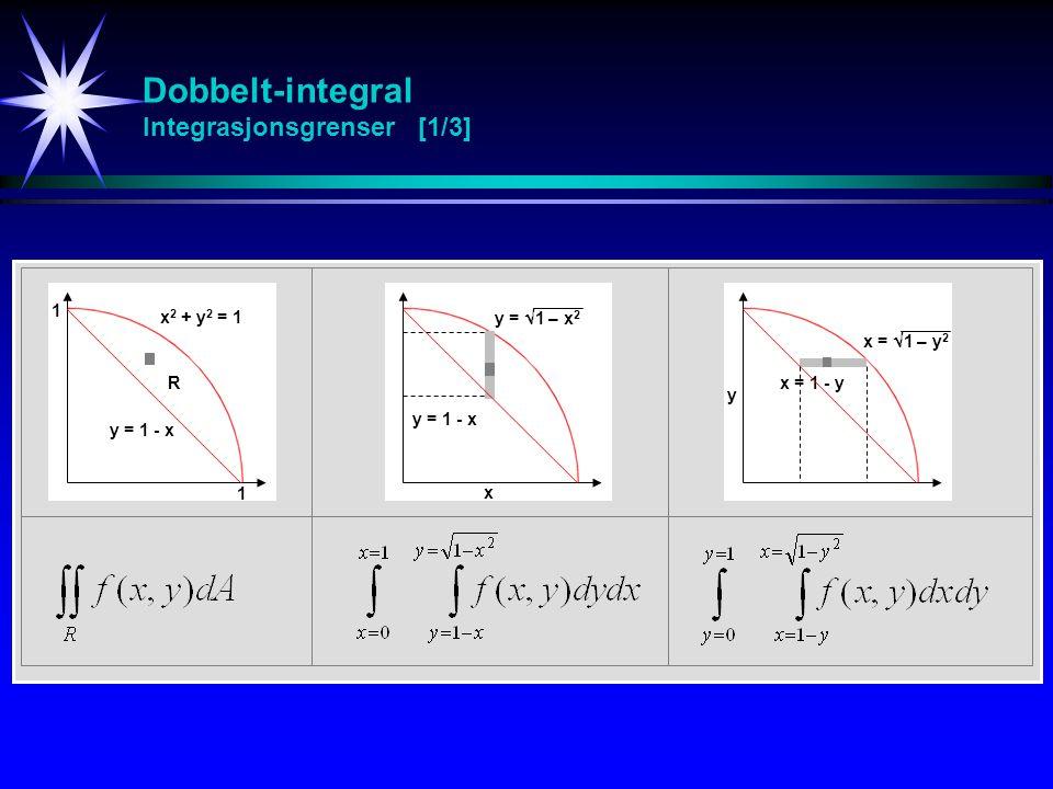 Dobbelt-integral Integrasjonsgrenser [1/3] R x 2 + y 2 = 1 y = 1 - x y =  1 – x 2 y = 1 - x x = 1 - y 1 1 x =  1 – y 2 x y
