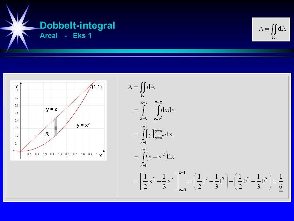 Dobbelt-integral Areal - Eks 1 y = x 2 y = x (1,1) x y R