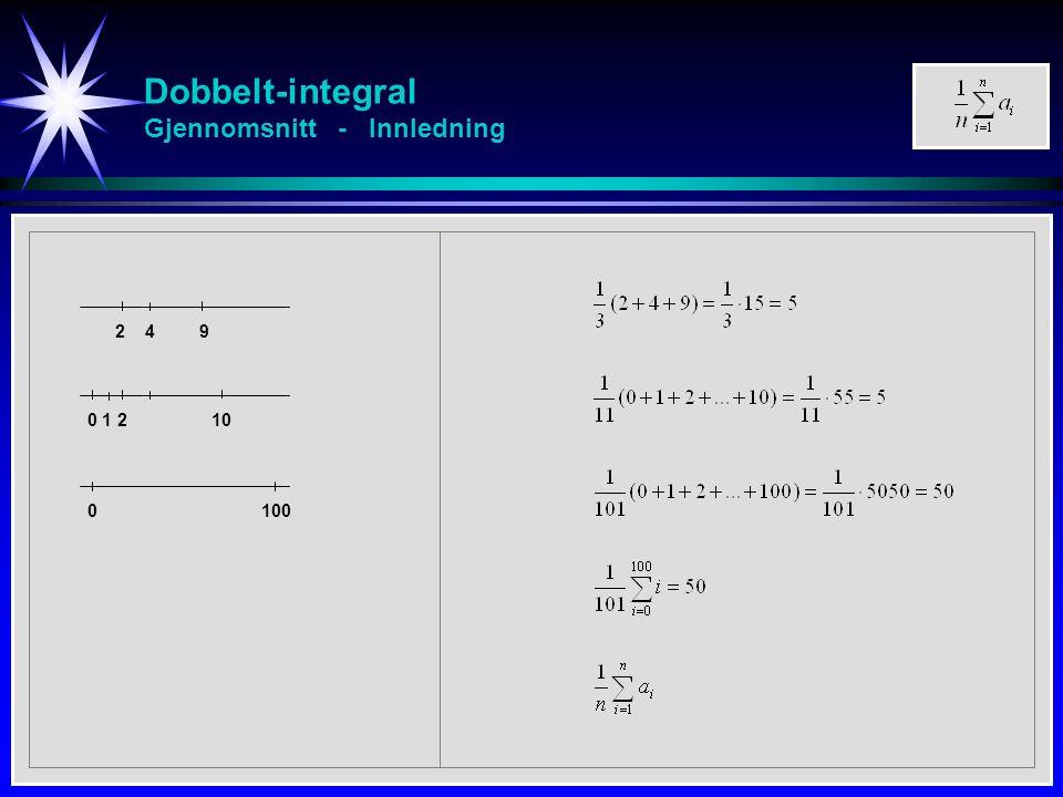 Dobbelt-integral Gjennomsnitt - Innledning 2 4 9 0 1 2 10 0 100