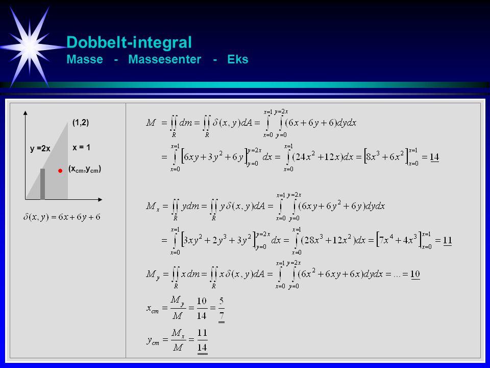 Dobbelt-integral Masse - Massesenter - Eks (1,2) x = 1 y =2x (x cm,y cm )