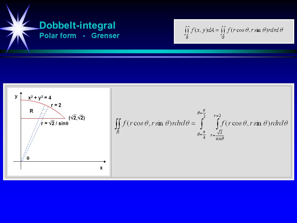 Dobbelt-integral Polar form - Grenser y x x 2 + y 2 = 4 r = 2 (  2,  2)  r =  2 / sin  R