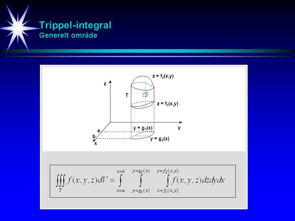 Trippel-integral Generelt område z y x a z = f 2 (x,y) z = f 1 (x,y) y = g 2 (x) y = g 1 (x) b T