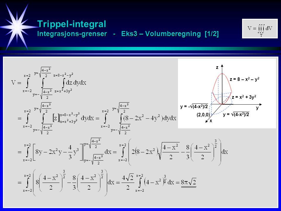 Trippel-integral Integrasjons-grenser - Eks3 – Volumberegning [1/2] z y x z = 8 – x 2 – y 2 z = x 2 + 3y 2 y =  (4-x 2 )/2 y = -  (4-x 2 )/2 (2,0,0)