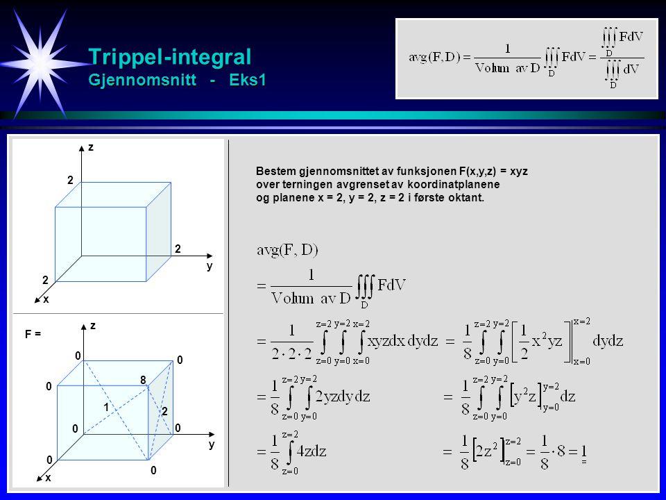 Trippel-integral Gjennomsnitt - Eks1 z y x 2 2 2 Bestem gjennomsnittet av funksjonen F(x,y,z) = xyz over terningen avgrenset av koordinatplanene og planene x = 2, y = 2, z = 2 i første oktant.