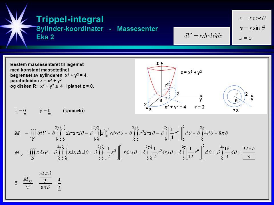 Trippel-integral Sylinder-koordinater - Massesenter Eks 2 Bestem massesenteret til legemet med konstant massetetthet begrenset av sylinderen x 2 + y 2 = 4, paraboloiden z = x 2 + y 2 og disken R: x 2 + y 2  4 i planet z = 0.