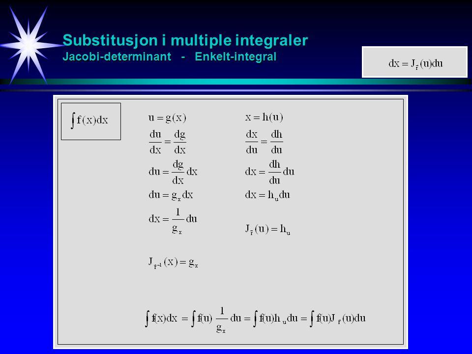Substitusjon i multiple integraler Jacobi-determinant - Enkelt-integral