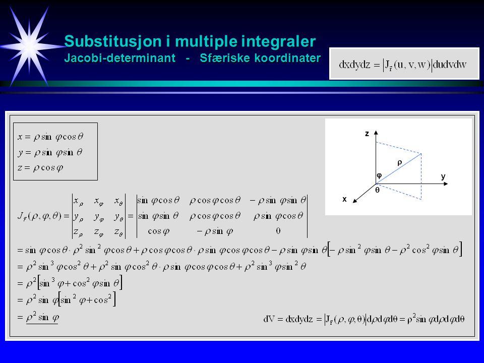 Substitusjon i multiple integraler Jacobi-determinant - Sfæriske koordinater x y z   