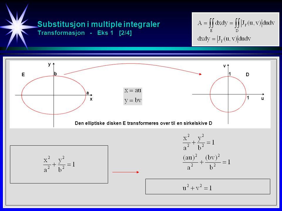 Substitusjon i multiple integraler Transformasjon - Eks 1 [2/4] x y b a u v 1 1 Den elliptiske disken E transformeres over til en sirkelskive D ED