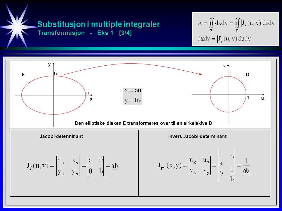 Substitusjon i multiple integraler Transformasjon - Eks 1 [3/4] x y b a u v 1 1 Den elliptiske disken E transformeres over til en sirkelskive D Jacobi-determinantInvers Jacobi-determinant ED
