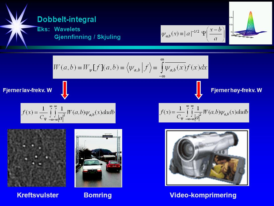 Dobbelt-integral Eks: Wavelets Gjennfinning / Skjuling KreftsvulsterBomringVideo-komprimering Fjerner lav-frekv.